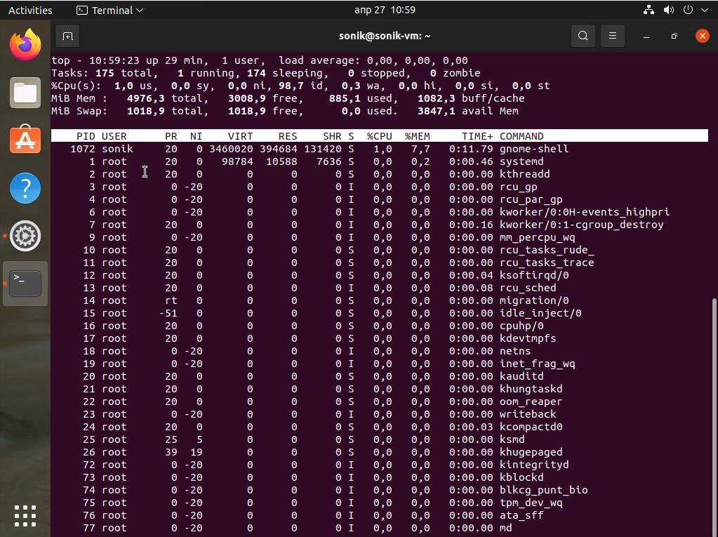 ubuntu 21.04 top command