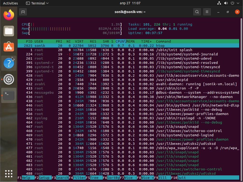 Ubuntu 21.04 htop monitoring tool