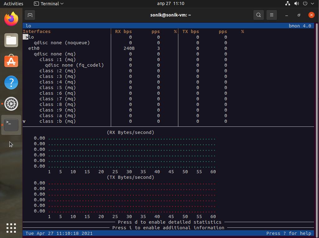 Ubuntu 21.04 bmon network monitoring tool