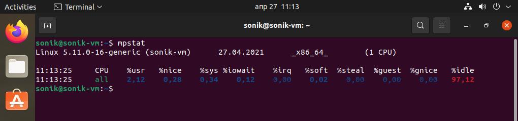 Ubuntu 21.04 mpstat monitoring tool