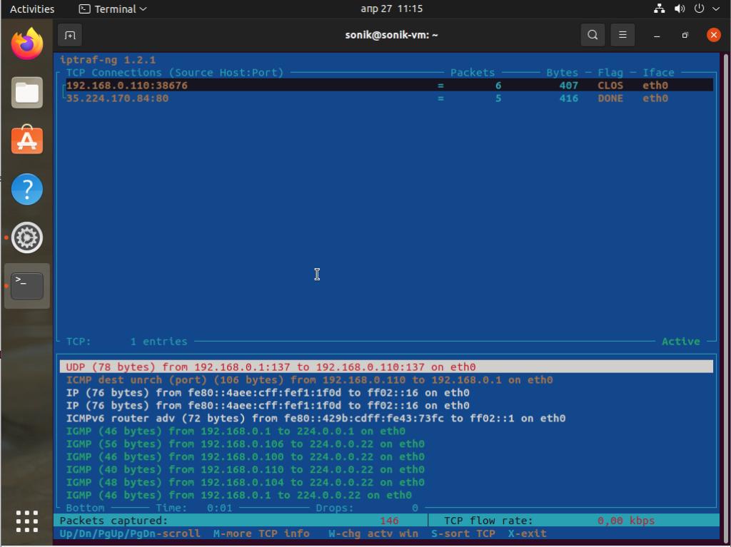 Ubuntu 21.04 iptraf interface monitoring tool