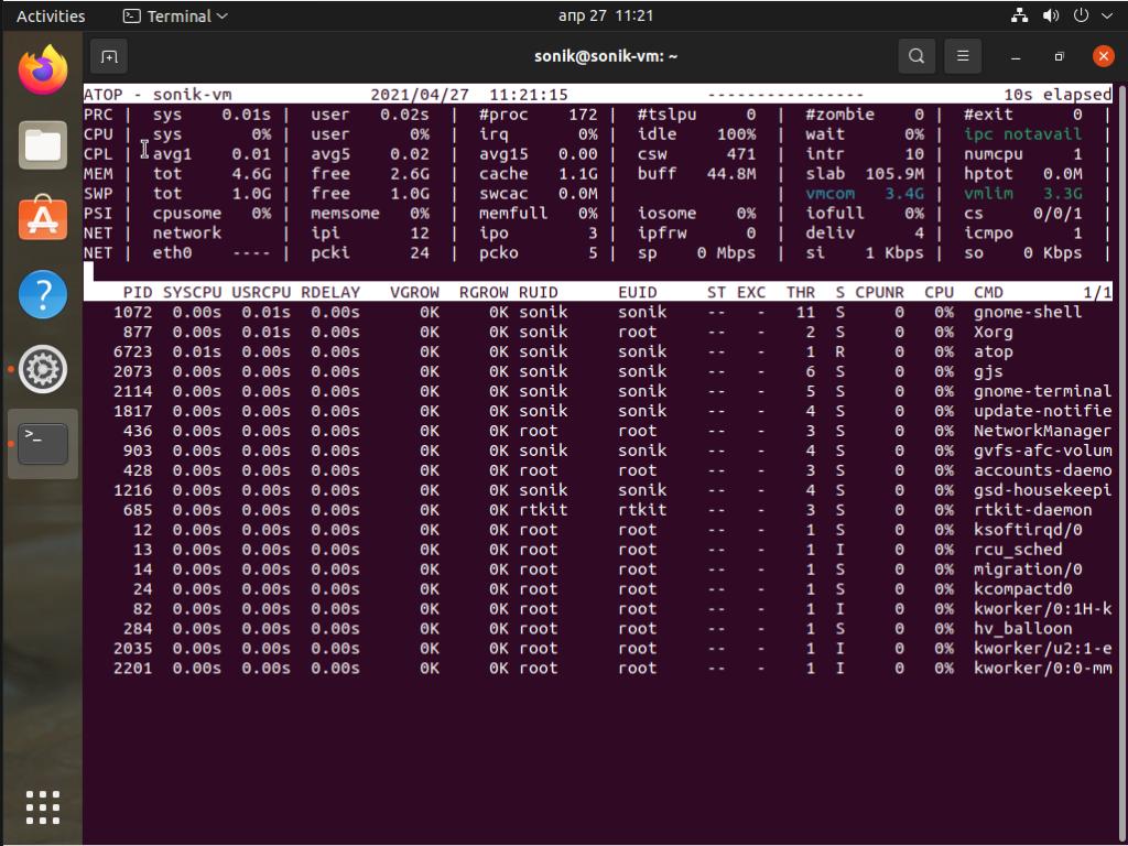 Ubuntu 21.04 atop monitoring tool