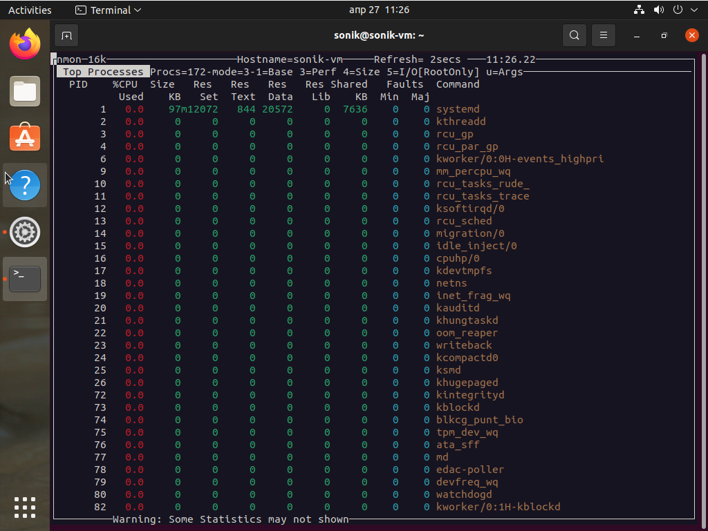 Ubuntu 21.04 nmon monitoring tool