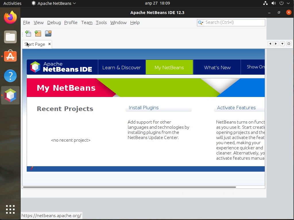 First screen Apache NetBeans in Ubuntu 21.04 Linux