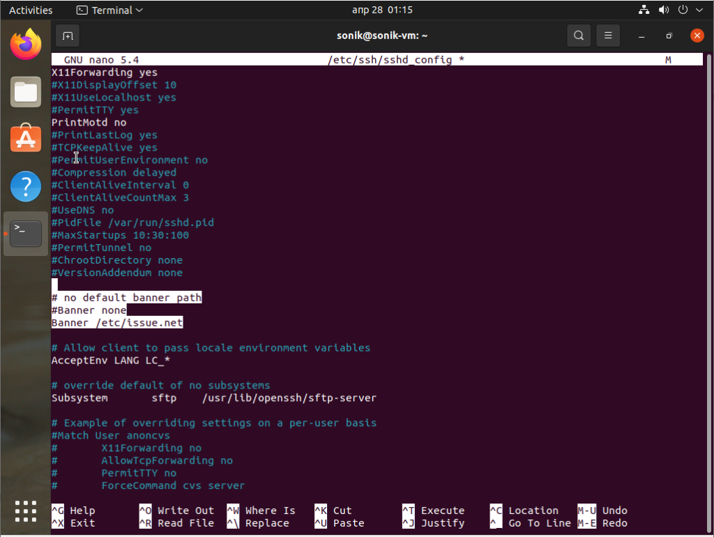 How to add a banner to ssh connection in ubuntu 21.04