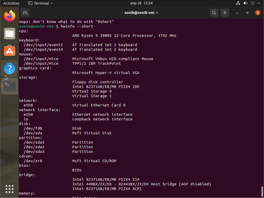 How to install and use hwinfo in Ubuntu 21.04 Linux?