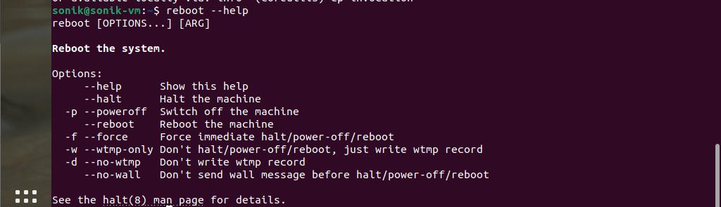 Using the reboot command in Ubuntu 21.04
