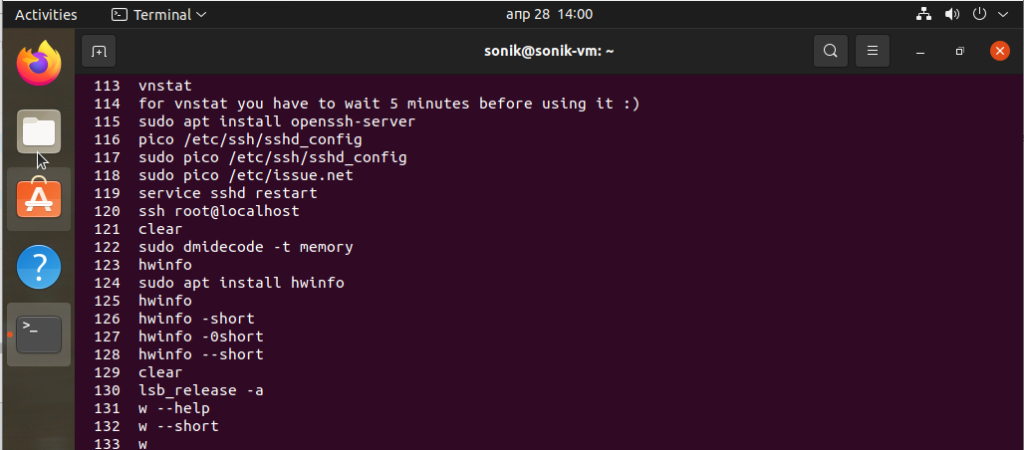 using the history command in ubuntu 21.04 linux