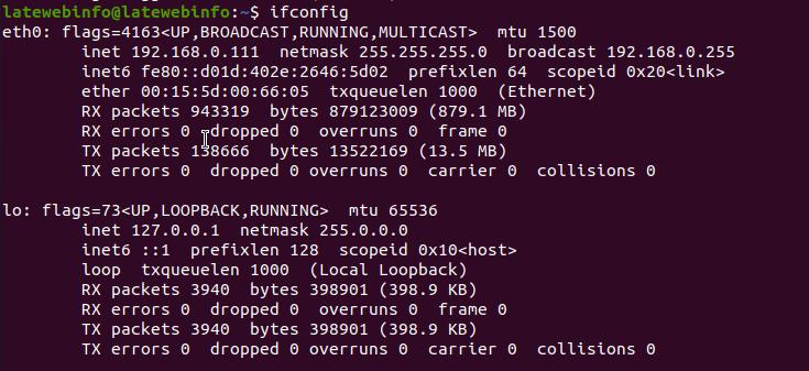 ubuntu check network setting with ifconfig