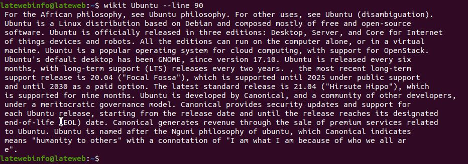output of the command --line 90