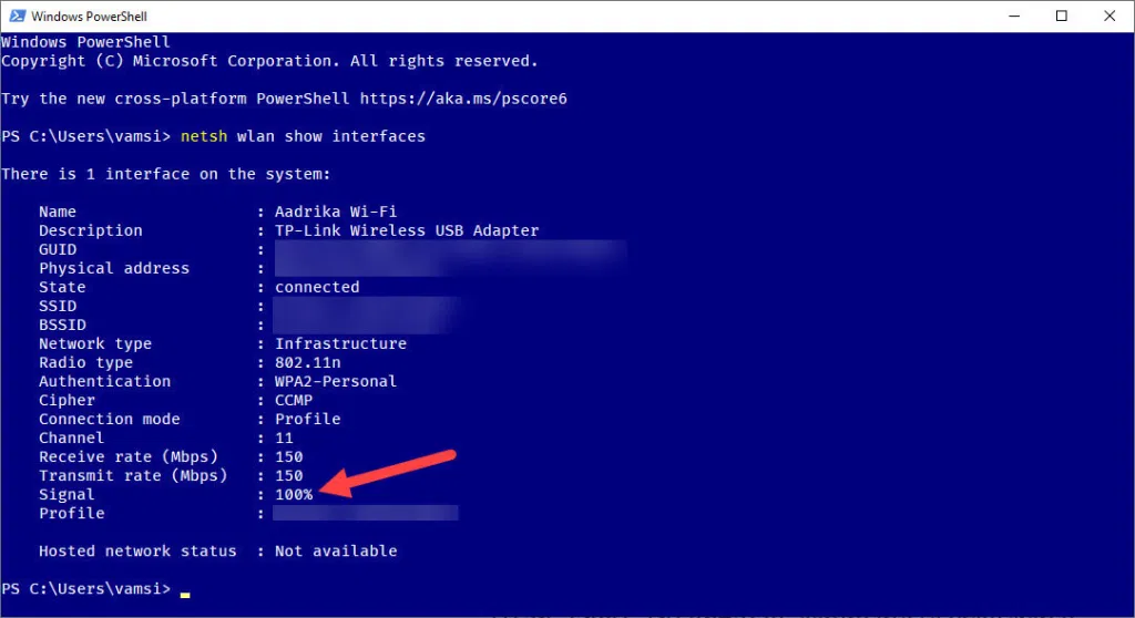 How to Measure & See WiFi Signal Strength in Numbers on Windows using PowerShell