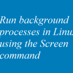 Run background processes in Linux using the Screen command