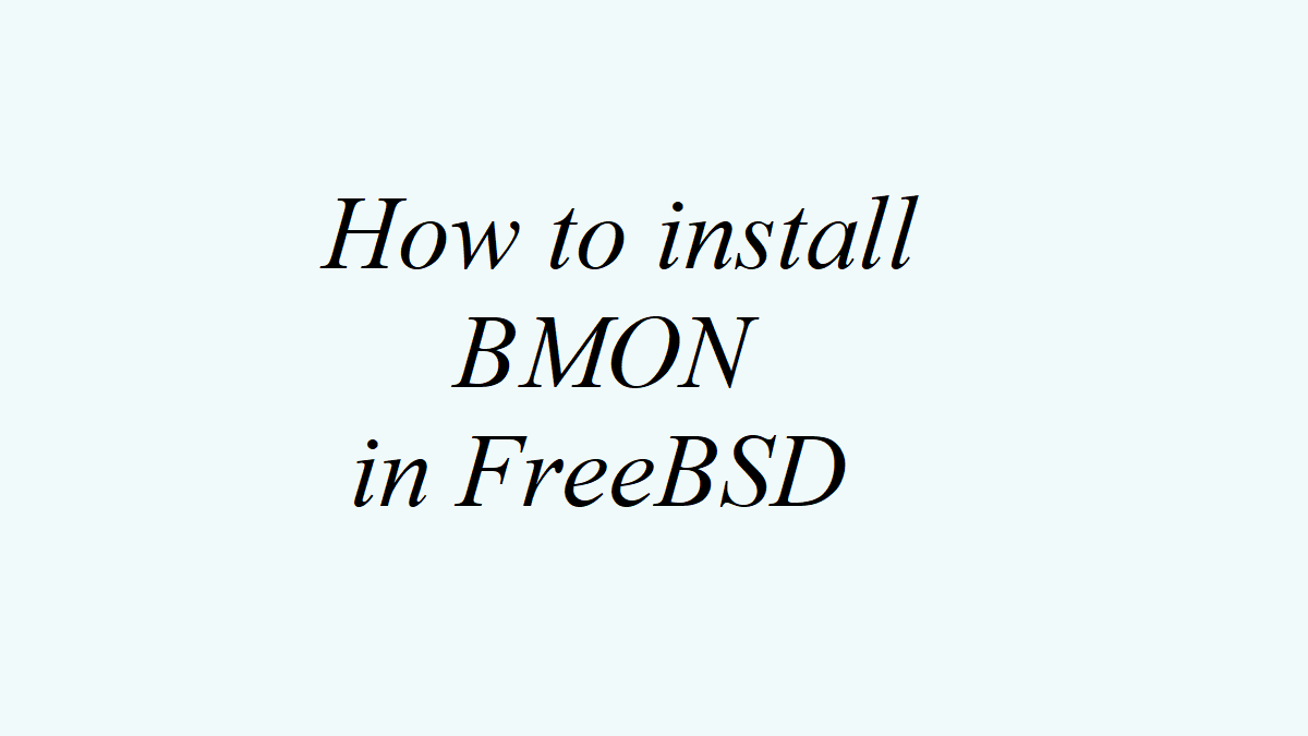 How to install BMON in FreeBSD