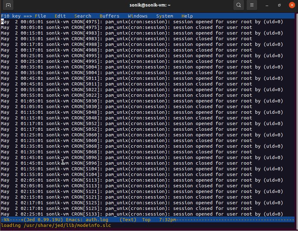 Jed text editor screenshot in ubuntu 21.04 Linux | lateweb.info