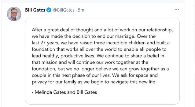 Bill Gates is getting divorced [ He tweeted ]